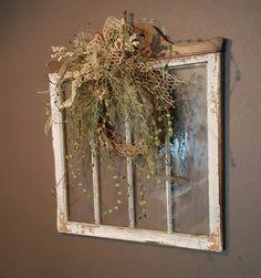 Old painted window, Window wall art, Vintage window, Shabby chic ...
