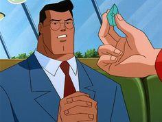 Clark Kent being shown Kryptonite by Lois Lane