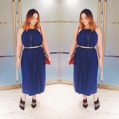 This #maxxinista scored her blue pleated dress for $40!
