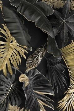 Modern Gold Tropical Leaf Poster Home Decor Nordic Canvas Painting Wall Art Print Luxury Decor for Living Room Backdrop Decor - 30x40cm no frame / A