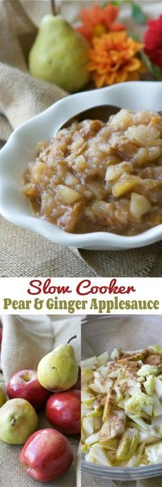 Slow Cooker Pear and Ginger Applesauce Recipe | http://cookincanuck.com #crockpot