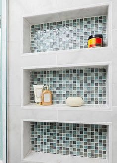 Dress up the back of built in shelve with ceramic or mosaic tiles #bathroom