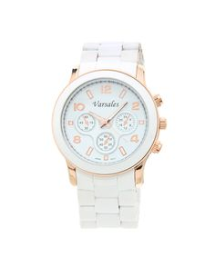 White & Rose Gold Boyfriend Watch $28