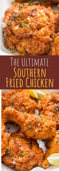 Ultimate Southern Fried Chicken - You guys, get ready for some serious indulgence. THE ULTIMATE Southern fried chicken here. This is simply the best fried chicken you'll ever make! Best Fried Chicken Recipe, Fried Chicken Dinner, Making Fried Chicken, Chicken Wing Recipes, Beef Recipes, Easy Recipes, Fried Chicken With Buttermilk, Recipes Dinner, Healthy Recipes