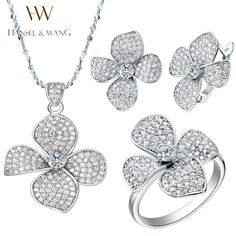 Hansel & Wang 2016 Fashion Natural Clover CZ Diamonds 925 Sterling Silver Necklace Earrings Rings for Women Jewelery Set 2JS39  #s #men #e #ring #ec $39.99 #organic #natural #ecofriendly #sustainaable #sustainthefuture