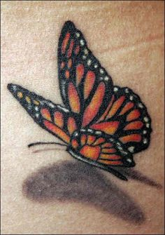 Realistic Flying 3D Butterfly Tattoo with shadow
