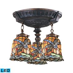 Three Light LED Semi Flush Mount The Mix-N-Match Collection showcases a variety of fixtures, each available with a wide selection of beautiful tiffany glass options.