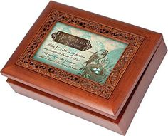His Eye Is On The Sparrow Cottage Garden Rich Woodgrain Finish with Ornate Inlay Jewelry Music Box  Plays Song His Eye Is On The Sparrow >>> Check out this great product.