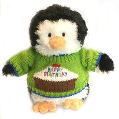"""Our Happy Birthday Cuddles Plush Penguin makes for a great way to celebrate that special day, penguin style. Measuring 10"""" tall, this fun plush penguin is wearing a fun, colorful knit cotton pull-on s"""