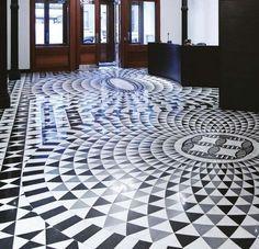 Marmor Mosaikfliese / fur Innenbereich / zum Kleben COSMATI : BLACK & WHITE…