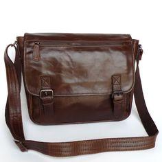Handmade Vintage Leather Messenger Bag / Satchel in Dark Brown