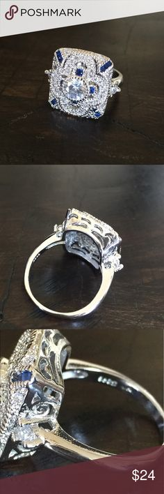 Sterling Silver White Topaz Sapphire Art Deco Ring Sterling Silver CZ White Topaz & Sapphire Art Deco Ring. Jewelry Rings