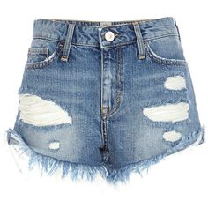 River Island Mid wash ripped Ruby denim shorts (42 BRL) ❤ liked on Polyvore featuring shorts, bottoms, pants, short, river island, blue, sale, distressed denim shorts, destroyed denim shorts and zipper shorts