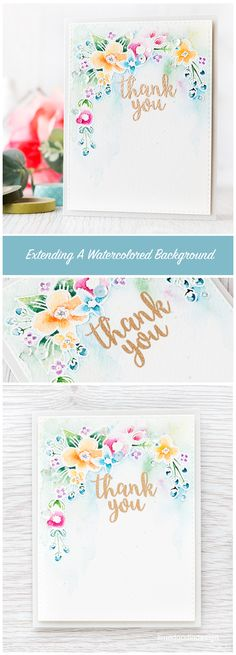 For me, to ensure there is plenty of color to an image, the best way is extending a watercolored background around the image. Pretty Cards, Cute Cards, Diy Cards, Your Cards, Watercolor Cards, Watercolour, Card Making Techniques, Copics, Card Tags