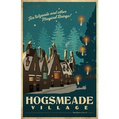 HOGSMEADE Harry Potter Travel Poster Vintage Print Wall Art House... ❤ liked on Polyvore featuring home, home decor, wall art, inspirational home decor, plastic signs, inspirational signs, vintage style home decor and motivational wall art