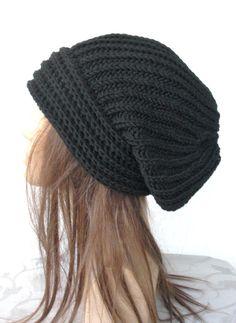 Hand Knit Womens Slouchy Hat Black Beanie Hat Winter by Ebruk