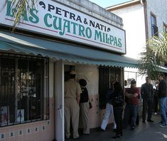 Las Cuatro Milpas, San Diego San Diegans know that southern California can claim some of America's best Mexican food, and Las Cuatro Milpas is a great place to experience it for yourself. Yes, there's a line. Yes, there's cafeteria-style service. So what? It's reasonably priced, the tamales are legendary, and the tortillas fresh. They're fried and rolled today as the staff here has always done—before it was cool. Best Mexican Restaurants, San Diego Restaurants, Best Mexican Recipes, Yummy Recipes, Yummy Food, San Diego Shopping, Del Taco, Taco Shop, Southern California