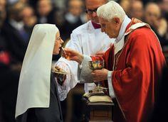 What we receive in Holy Communion is REALLY Jesus Christ, not simply a piece of bread. Let us receive him with greater reverence: by receiving communion on the tongue and while kneeling (if able). Catholic Sacraments, Catholic Herald, Good Prayers, Pope Benedict Xvi, Religion, Bride Of Christ, Roman Catholic, Catholic Art, Catholic Theology