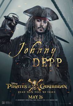 Johnny Depp as Captain Jack Sparrow in Pirates of The Caribbean: Salazar's Revenge Captain Jack Sparrow, Walt Disney, Disney Fan, Hd Movies, Movie Tv, Movies Online, 2017 Movies, Disney Movies, Film Pirates