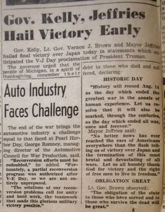 GOV. KELLY, JEFFRIES HAIL VICTORY EARLY | Clippings from the DETROIT TIMES Times Newspaper, Vernon, Victorious, Detroit, Day