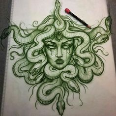 some people will get their Medusa tattoo to feel safer in their own skin Dope Tattoos, Body Art Tattoos, Small Tattoos, Sleeve Tattoos, Tattos, Medusa Drawing, Medusa Art, Art Drawings Sketches, Tattoo Sketches