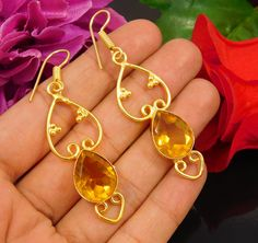 18 Carat Gold Plated Faceted Citrine Quartz Hand Carving Earring Jewelry NJ120 #Handmade