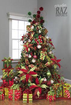2012 Christmas Tree- I like the pom poms  on top