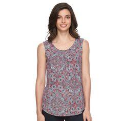 Women's Croft & Barrow® Print Shirred Tank, Size: Medium, Dark Pink