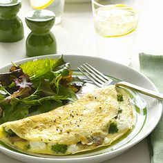 Omelets aren't just for breakfast anymore. Try this vegetarian version that combines mushrooms, broccoli, and feta cheese for brunch, lunch, or a light supper.