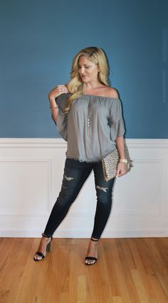 off the shoulder top, distressed denim, leopard print clutch, summer fashion