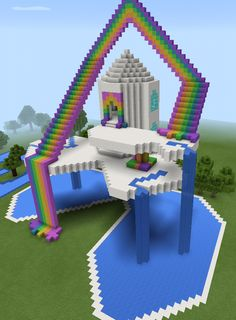 Minecraft Rainbow Sky Waterfall House More