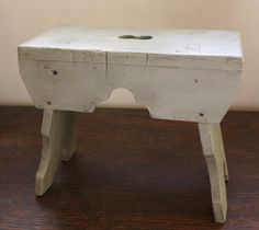 Antique Primitive Green Gray Stool Awesome by ElegantFarmhouse, $40.00