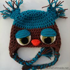 I made this crochet owl hat using the Not Another Owl Hat Pattern (NOAH) by Rhondda Mol from Oombawka Design. I love the dopey eyes and the sticky-uppy mouth!