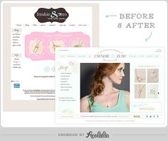 """Freshie & Zero website redesign before and after. """"Hiring Aeolidia has been the starting point of so many steps forward in my business. I jumped in with both feet in every way possible to maximize the investment of a new site, and it's been totally worth it."""""""