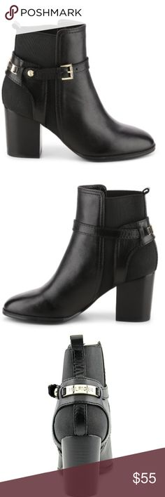 """Tommy Hilfiger Hayley Booties Beautiful black leather ankle boots by Tommy Hilfiger. Soft leather upper, stacked heel, and gold accents. Elastic on the sides in the """"Chelsea boot"""" fashion, also makes them quite comfortable! Brand new with box, never been worn except to try on. Tommy Hilfiger Shoes Ankle Boots & Booties"""
