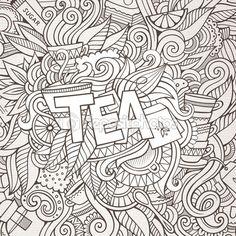 Чай стороны надписей и рисунков элементы фона. — стоковая иллюстрация #75756455