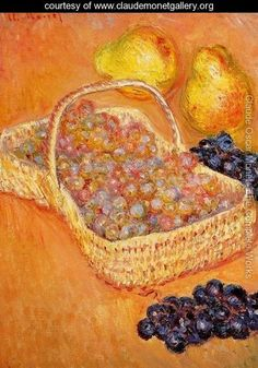 Basket Of Graphes  Quinces And Pears - Claude Oscar Monet - www.claudemonetgallery.org