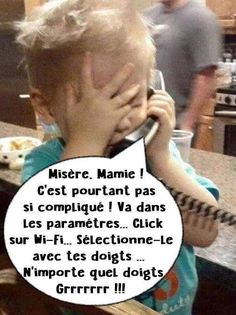 Misery, it is not so complicated, go in the settings on wi-fi select it . Haha Funny, Funny Cute, Funny Images, Funny Pictures, Cute Captions, French Quotes, Geek Humor, Yoga, Satire