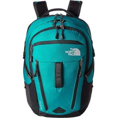 The North Face Women's Surge Backpack Bags ($71) ❤ liked on Polyvore featuring bags, backpacks, blue, flat backpack, nylon zipper bag, travel daypack, travel backpack and nylon backpack