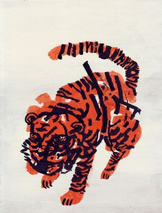 nivbavarsky: Tiger - Gouache, ink, flashe on cardboard Happy new year all, plenty of new working coming in -Niv Niv Bavarsky Tiger Illustration, Gravure Illustration, Creative Illustration, Gouache, Arte Popular, Art Graphique, Community Art, Painting & Drawing, Tiger Drawing