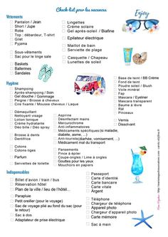 Check list vacances offerte par Marie-Maguelone Plus Camping With Kids, Family Camping, Go Camping, Camping Hacks, Camping Trailers, Check Up, Camping Checklist, Camping Essentials, Travel Packing