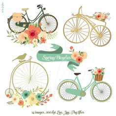 Spring Bicycles Clipart, Clip art. Bicycles Clipart. Spring Flowers Clipart. 14 images. Eps, jpg, png files. Personal, small commercial Use