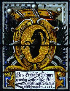 Wappen von Christoph Steiger (Steiger coat of arms), Chillon Castle stained glass window, 1714 -- Photo by *Davide, 2008.