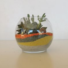 Create a colorful succulent terrarium, have fun creating a unique gift with a glass bubble vase, color sand and succulents. I will select three succulents, sand and moss. Please contact us for preferred sand and moss color. Sand colors available are natural white, aqua blue, pink, purple, yellow, olive green, [...]