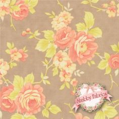 Avalon by Fig Tree for Moda Fabrics: Avalon is a vintage-inspired collection by Fig Tree for Moda Fabrics. This fabric features peach rose bouquets on a brown background. Kitchen Fabric, Peach Rose, Shabby Fabrics, Fig Tree, Girl Nursery, Bouquets, Vintage Inspired, Quilting, Sewing