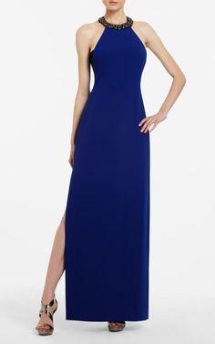 BCBG Viviane Beaded Blue Halter Evening Gown Sale