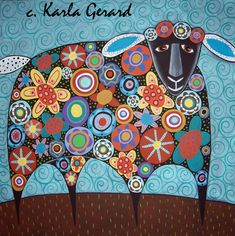 - BLOOMING SHEEP Rug Hooking Pattern - Karla Gerard Folk http://www.fullywoolyprimitives.com/store/WsDefault.asp?One=1126
