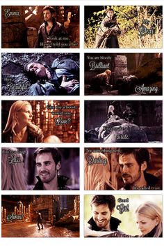 Hook and Emma moments on once upon a time. All the names Hook calls Emma. Once Upon a Time.