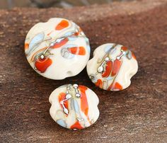Handmade lampwork glass beads  Beige blue orange by MayaHoney