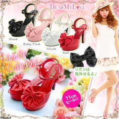Yumetenbo The bow paint the Pixia waterproof fish head high-heeled sandals
